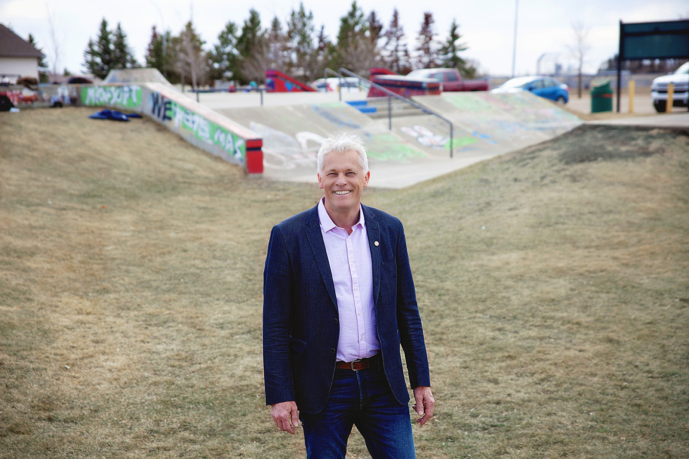 Man standing in skate park